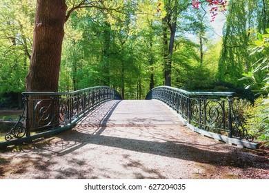 Decorative bridge in The Loo park located in Apeldoorn in the Netherlands