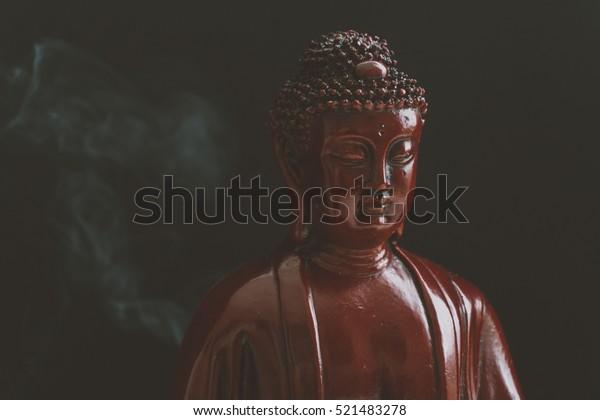 Decorative Buddha Statue Buddha Background Incense Stock