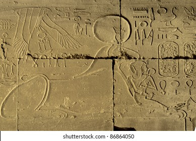 Decorative carving in ancient Egyptian temples in Luxor