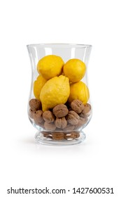 decorative centerpiece with lemons and nuts