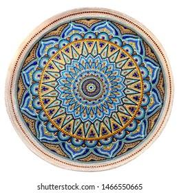 Decorative ceramic dish painted with hands. Art, handmade