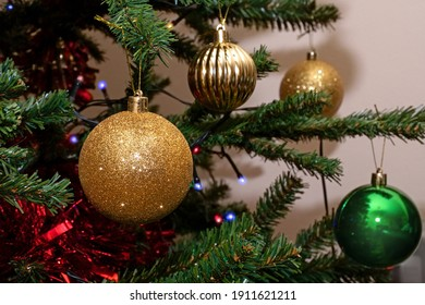 Decorative Christmas Baubles on Christmas Tree - Vibrant Colorful Background with Shallow Depth of Field