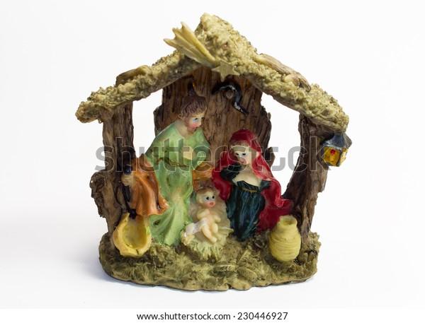 Decorative Christmas Nativity crib on the white background