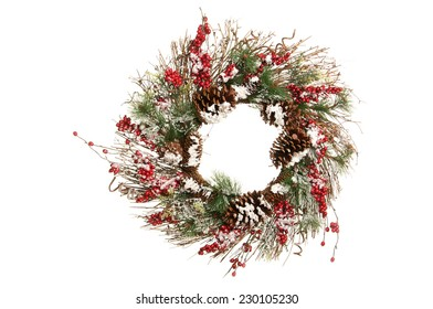 Decorative Christmas Wreath with Holly Berries, Twigs and Greens