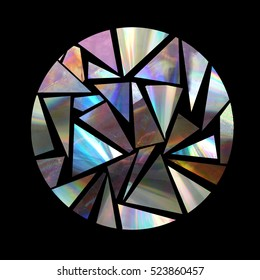 Decorative circle made from holographic triangles. Iridescent cd debris.