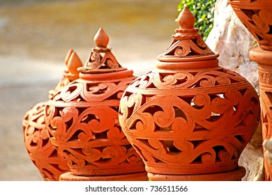 Decorative clay jar
