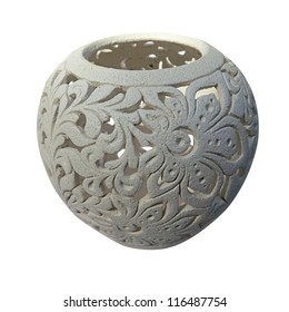 Decorative clay vessel with pattern isolated over white background