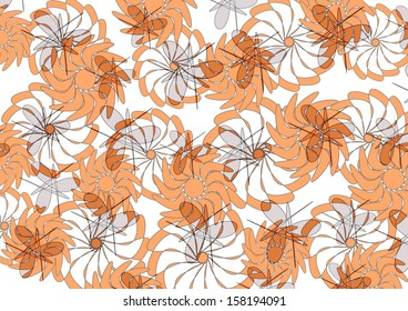 Decorative colorful  modern  abstract floral design with pretty flower  and geometric  motifs  superimposed on a plain background to create  lovely feminine wallpapers.