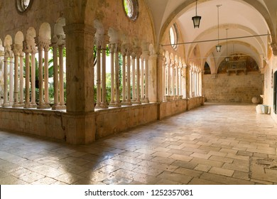 The decorative columns and arches of the corridors of the 13th Century Franciscan Monastery in Dubrovnik, Croatia.