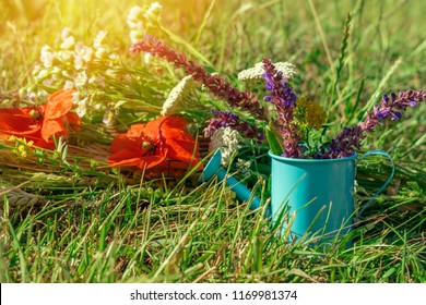 Decorative composition of meadow flowers on a green lawn with green grass and sunlight. Bouquet of poppies and wildflowers with watering can