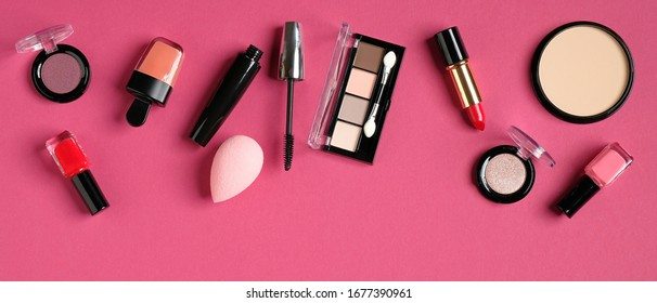 Decorative cosmetics and accessories for makeup on pink background. Beauty blog banner design.