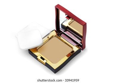 Decorative cosmetics. Eye shadow on a white background.
