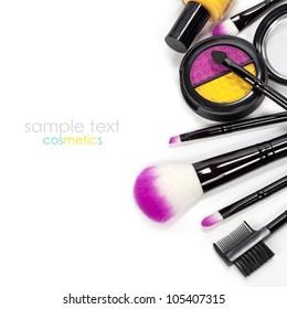 Decorative cosmetics isolated over white
