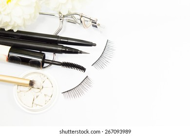 Decorative cosmetics isolated over white background. lipstick supplies