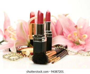 Decorative cosmetics and lilies