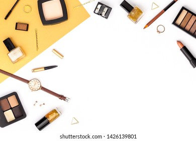 decorative cosmetics, makeup tools and accessory on white background with copy space for your text. beauty, fashion, party and shopping concept. flat lay frame composition, top view
