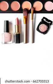 decorative cosmetics nude on white background top view