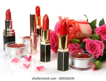 Decorative cosmetics and roses