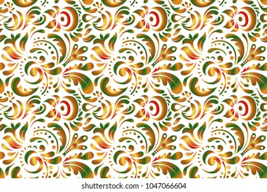 Decorative design element filigree calligraphy. Raster illustration. Orange, green and white vintage baroque ornament. Retro seamless pattern antique style acanthus.