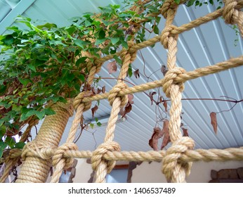 Decorative design of the veranda with ropes and flowers