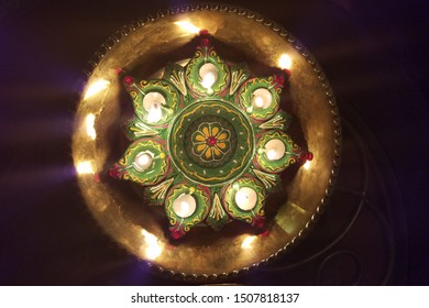 Decorative Diwali Thali with Diyas