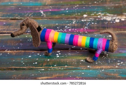 Decorative dog breed Dachshund. Toy, Art work, handmade