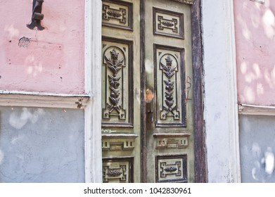 Decorative Doors Old Architecture with Pink Wall