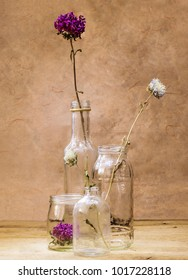 decorative dried flowers inside glass vase