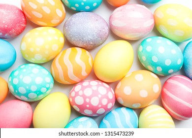 Decorative Easter eggs as background. Space for text