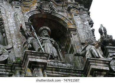 decorative element of santiago de compostela cathedral, galicia, spain
