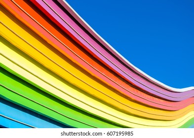 Decorative elements of the rainbow and the blue sky.