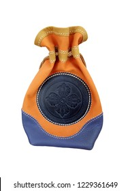decorative embossed soft leather pouch with national ornament. Purse.