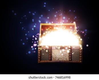 Decorative fantasy magic box with glowing sparkles.