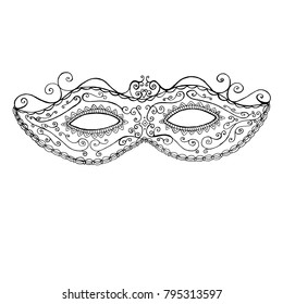 Decorative festive mask of Mddi Gras, coloring page for children and adults, doodle style. Raster black and white mask holiday background.