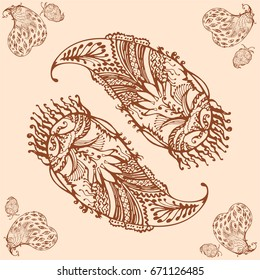 decorative floral element of beautiful paisley henna design