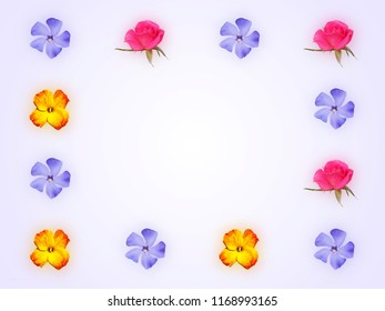 Decorative floral frame with pink roses, yellow red flower of wallflower and blue flower of periwinkle on light purple background