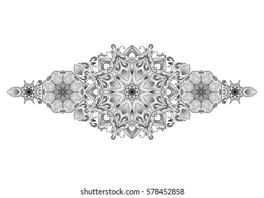 Decorative floral mandala border element on white background