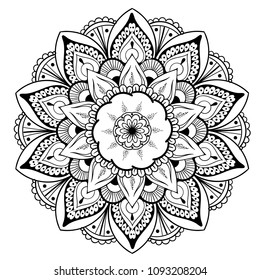 Decorative floral round mandala.  illustration