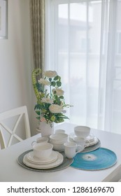 Decorative flower vases on the dining table