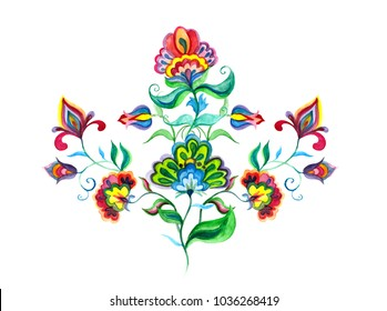 Decorative folk art flowers. Watercolor fairy motif for Eastern european embroidery floral ornament
