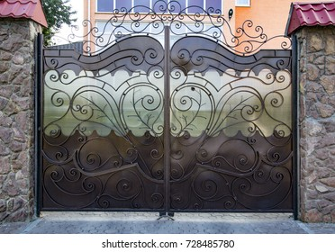 Decorative, forged barrier, fence in old stiletto