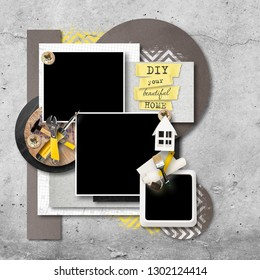 Decorative frame for photo for album on renovation or repair theme. Tools for gluing wallpapers and repair. Cheerful memories about renovation. DIY concept. 'Do it yourself' renovation of own home