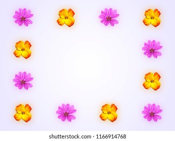Decorative frame with pink mallow flower and yellow red flower of wallflower on light blue background