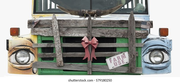 Decorative front end of farm stand truck. Isolated.