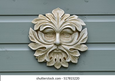Decorative garden plaque of the 'Green Man'
