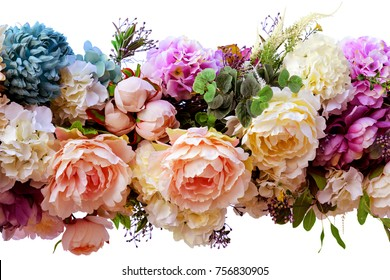 Decorative garland of artificial flowers - roses and hydrangeas. Isolated, white background.