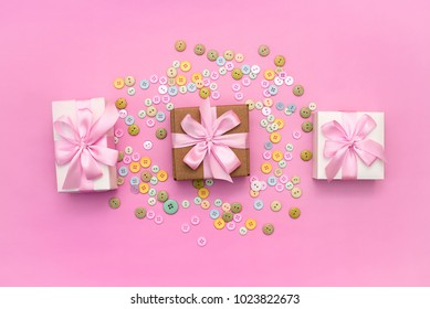Decorative gift box with a colored background. Top view Flat Lay