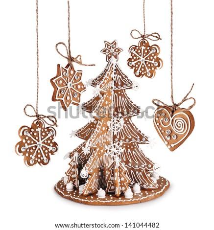 decorative gingerbread christmas tree star heart with sugar icing - Gingerbread Christmas Tree