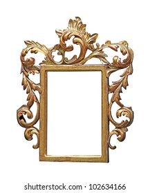 Decorative gold frame isolated with clipping path included