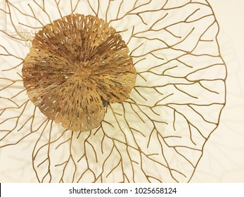 Decorative Gold lotus leaf on white background